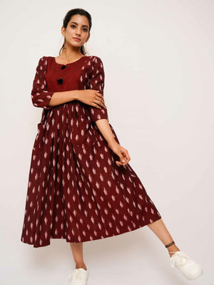 Maroon Ikat Dress - Threeness Designs