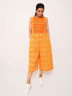 Mustard Ikat Jumpsuit - Threeness Designs