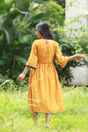 Mustard BOHO Dress - Threeness Designs