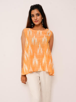 Mango Yellow  Boho Ikat Tank Top - Threeness Designs