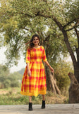 Orange Buffalo Gingham Dress - Threeness Designs