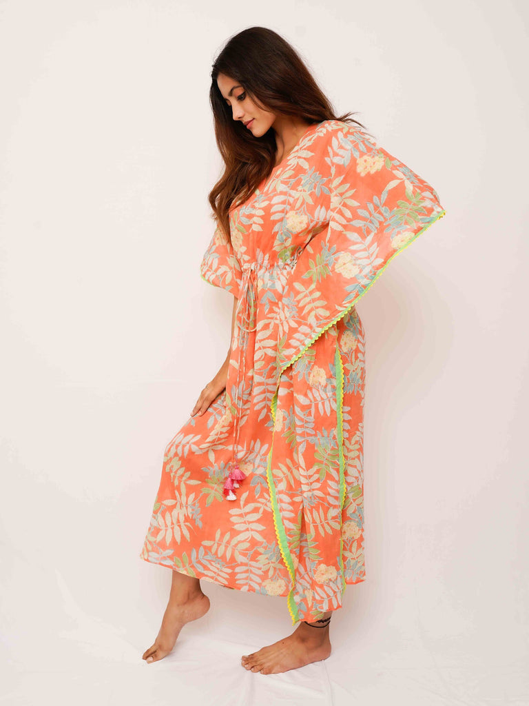 Orange Tropical Kaftan