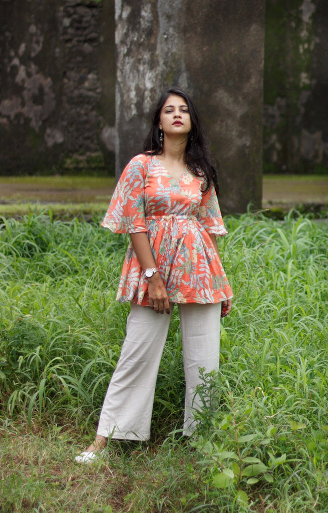 Orange Tropical Flared Top - Threeness Designs