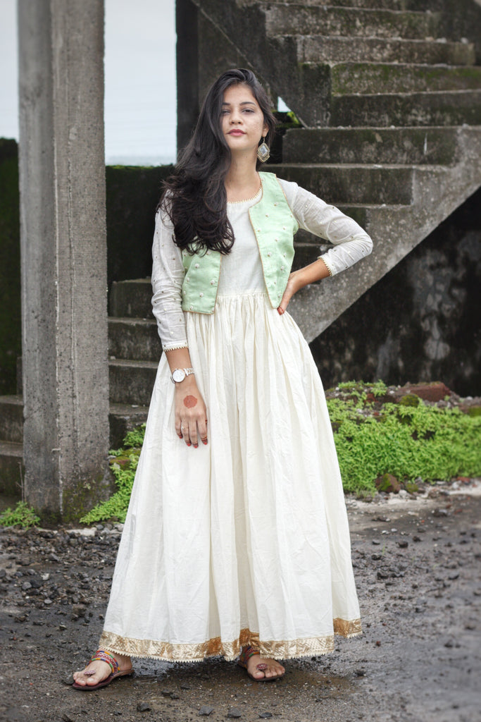 Pastel Green Koti With White Gota Gown - Threeness Designs