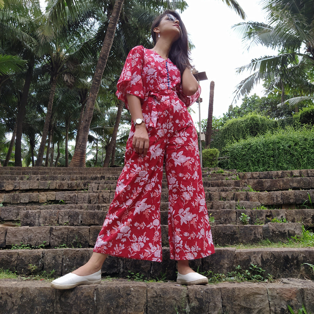 Red Jaipuri Jumpsuit - Threeness Designs
