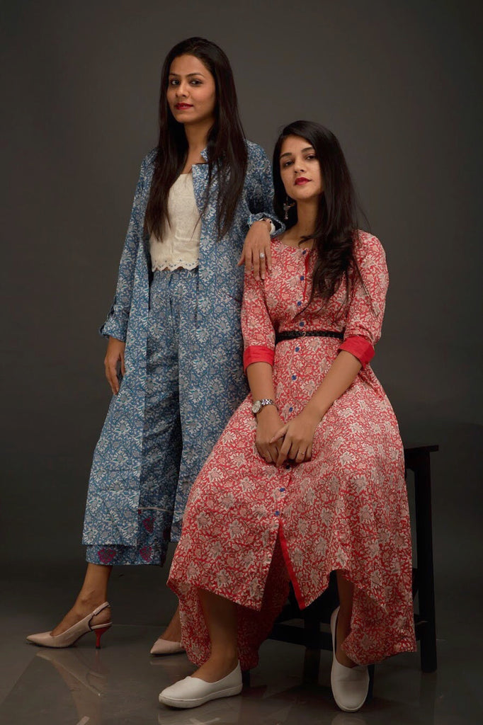 Blue Jaipuri print Jacket With Crop Top & Culottes - Threeness Designs