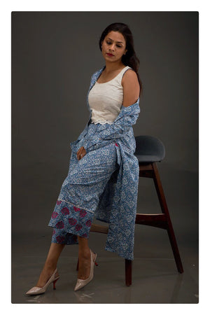 Blue Jaipuri print Jacket With Crop Top & Culottes