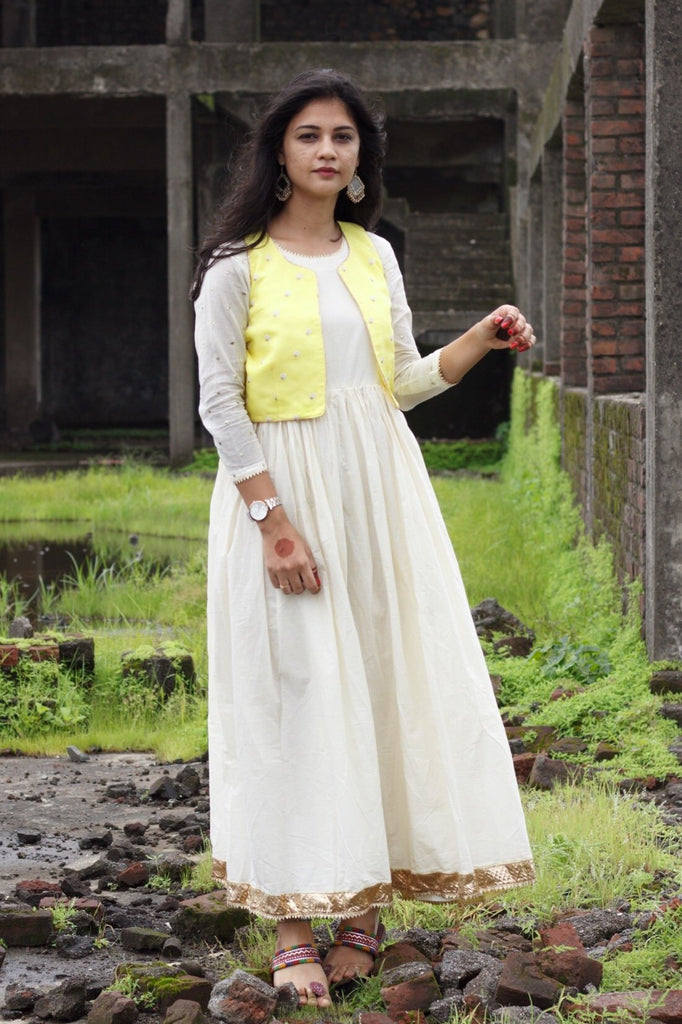Yellow Koti With White Gota Gown - Threeness Designs
