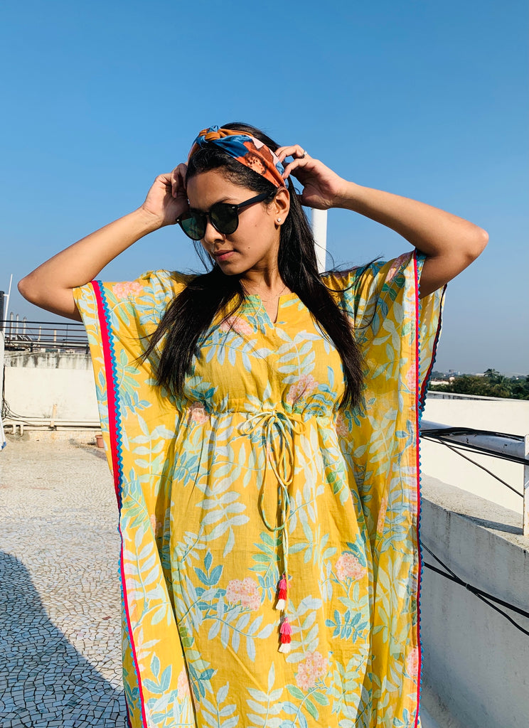 Yellow Tropical Kaftan - Threeness Designs
