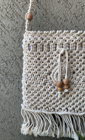 Natural Macrame Sling Bag - Threeness Designs