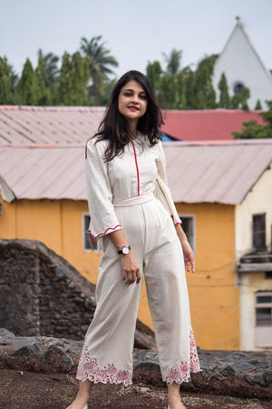 Cutwork Embroidered Hemline Jumpsuit - Threeness Designs