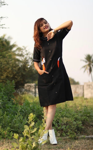 Black Fox Dress - Threeness Designs
