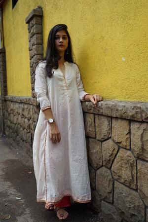 White Abhla Anarkali Kurta - Threeness Designs