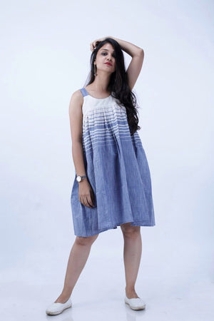 Blue-White Stripe Short Dress - Threeness Designs