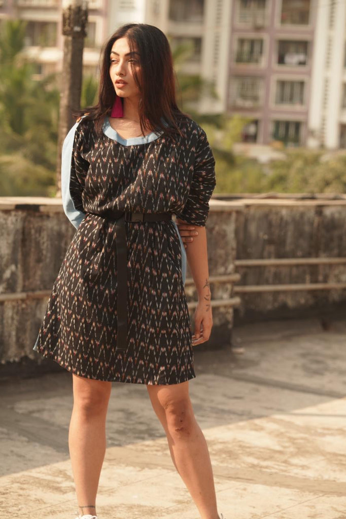 Black Denim Ikat Twin Dress - Threeness Designs