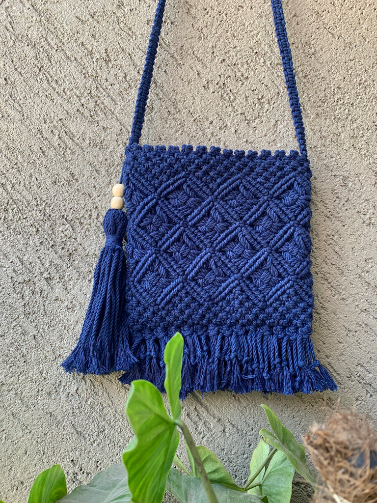Dark Blue Aztec Macrame Sling Bag - Threeness Designs