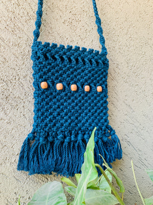 Peacock Blue Beaded Macrame Sling Bag - Threeness Designs