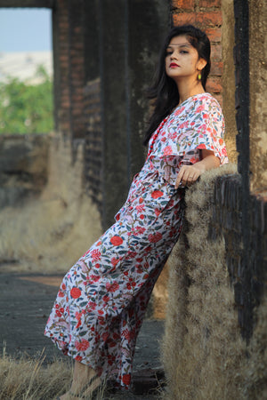 White Jaipuri Jumpsuit - Threeness Designs
