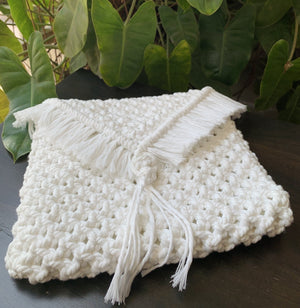 White Envelope Macrame Sling Bag - Threeness Designs
