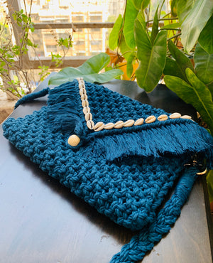 Peacock Blue Envelope Macrame Sling Bag - Threeness Designs