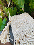 Natural Aztec Macrame Sling Bag - Threeness Designs