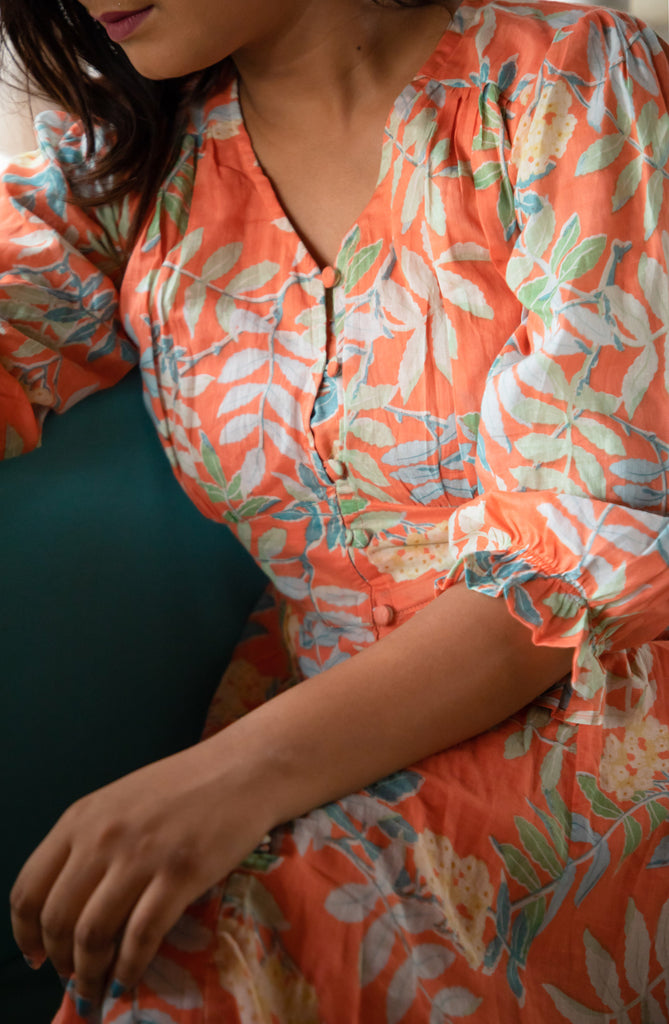 Orange Tropical Button Down Dress - Threeness Designs