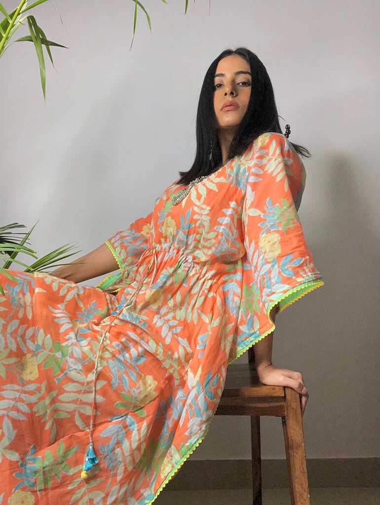 Orange Tropical Kaftan - Threeness Designs