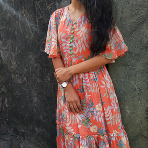 Orange Tropical Layered Dress - Threeness Designs