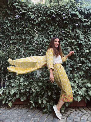 Yellow Jaipuri print Jacket With Crop Top & Culottes - Threeness Designs