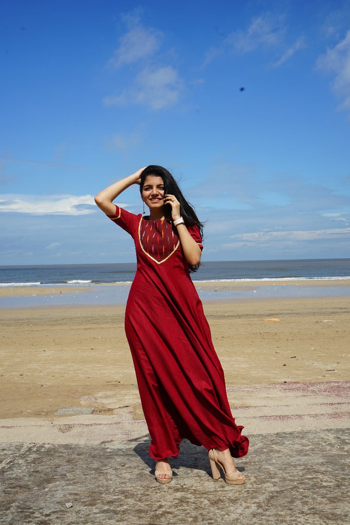 Maroon Ikat Yoke Gown - Threeness Designs