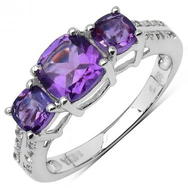 Magnificent Cushion Cut 1.35ctw Amethyst Ring