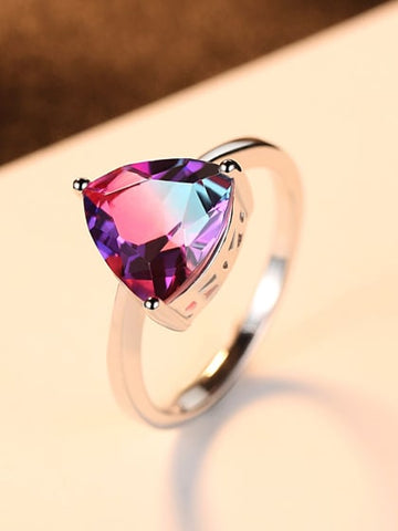 Beautiful Trillion Mystic Topaz Ring