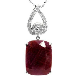 Sterling Silver 0.16ctw Diamonds & 11ctw Ruby Plated In 14k White Gold