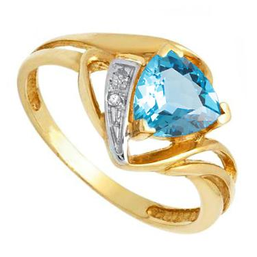 Golden Trillion 14k 1.0ct Swiss Blue Topaz Ring
