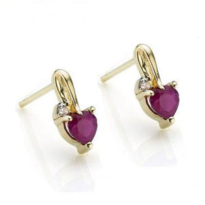 Baby 14k Diamond & 1.0ctw Heart Shape Ruby Earrings