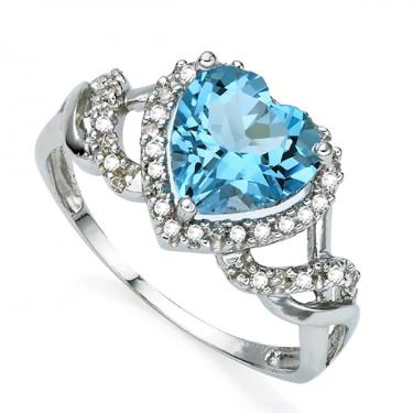 Gorgeous Heart 14k Diamond 2.7ct Swiss Blue Topaz Ring