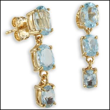 Enticing 18K Yellow Gold Over Solid Sterling Silver 3.90ctw Swiss Blue Topaz Designer Earrings