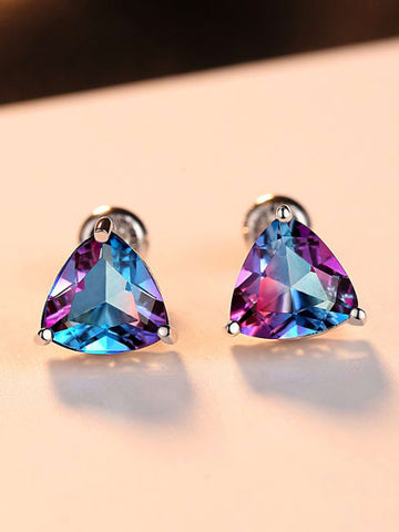 Beautiful Trillion Cut Mystic Topaz Earrings