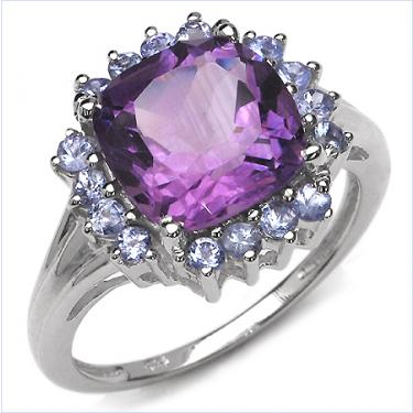 Vibrantly Gorgeous 3.55ct Amethyst Tanzanite Ring