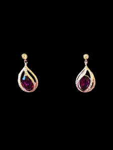 Drop Earrings With Purple Swarovski Crystal
