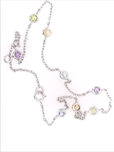 Semi Color Precious 8 Station Anklet