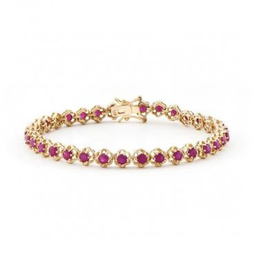 Dazzling 18k Yellow Gold 13.66ctw Ruby Bracelet