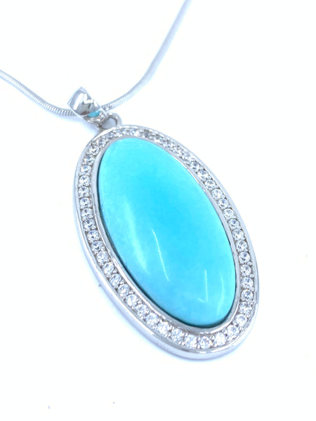 Classic Beauty Syn Oval Turquoise Pendant