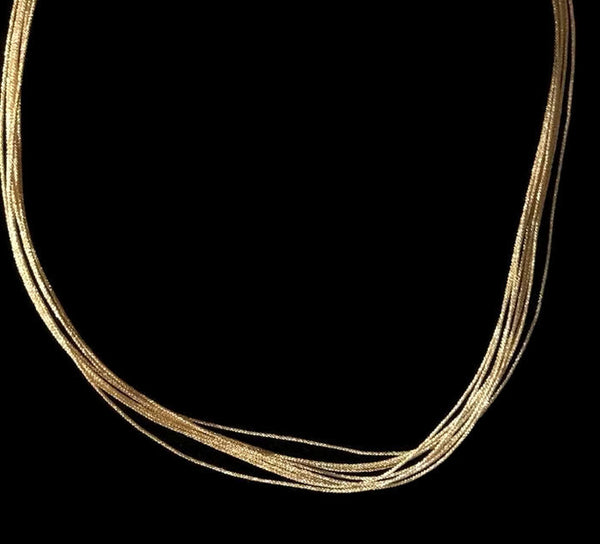 Japanese Homemade Gold 10 Strands Silk Cord w/ Sterling Silver Clasp