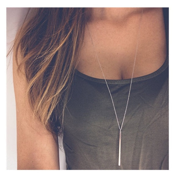 Long Y Style Chain Rose Gold Necklace