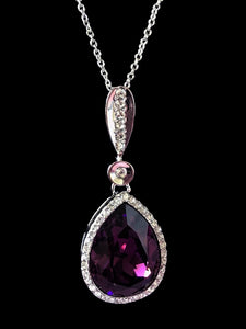 Swarovski Crystal Purple Teardrop Necklace