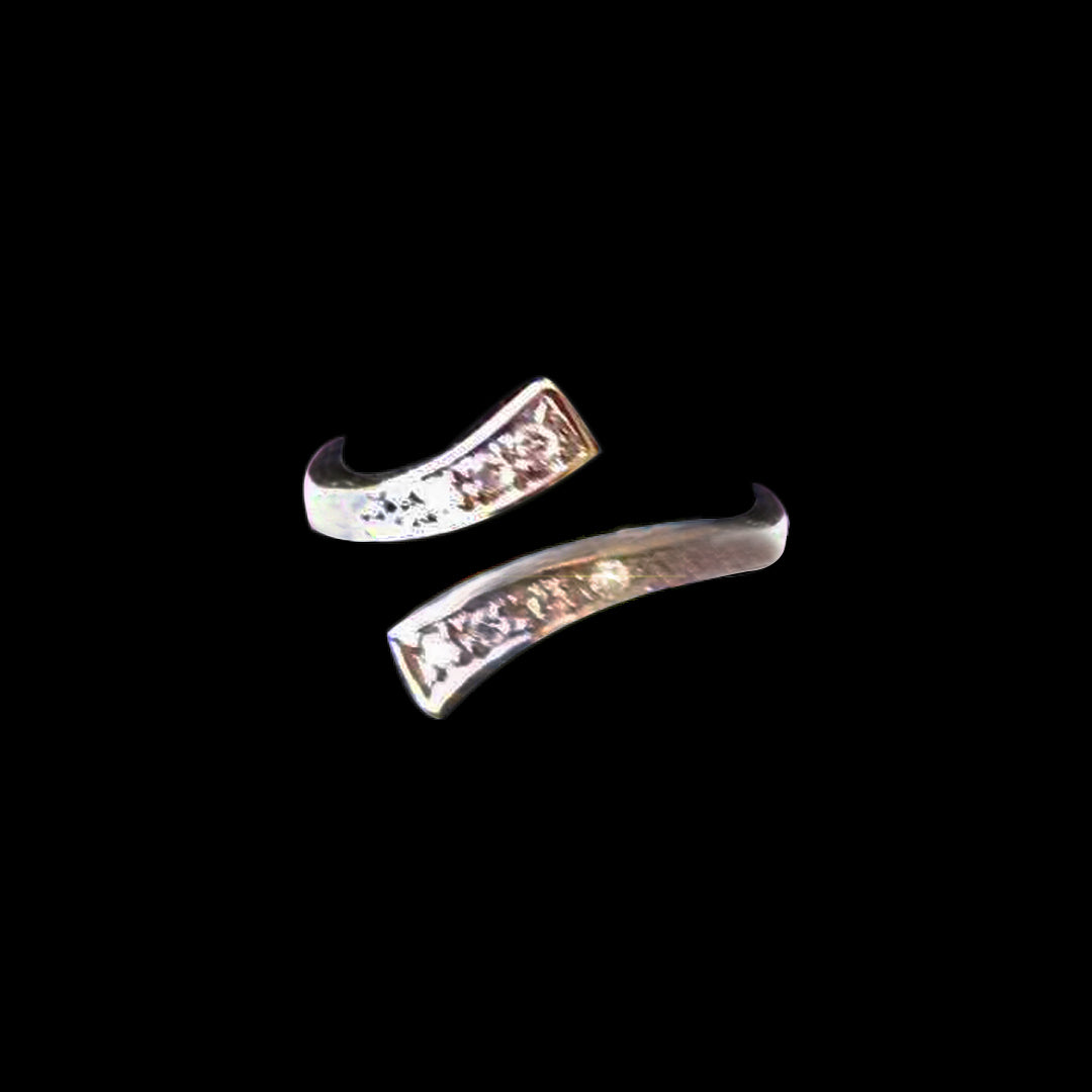 X Style Channel Set Toe Ring W/Cubic Zirconia