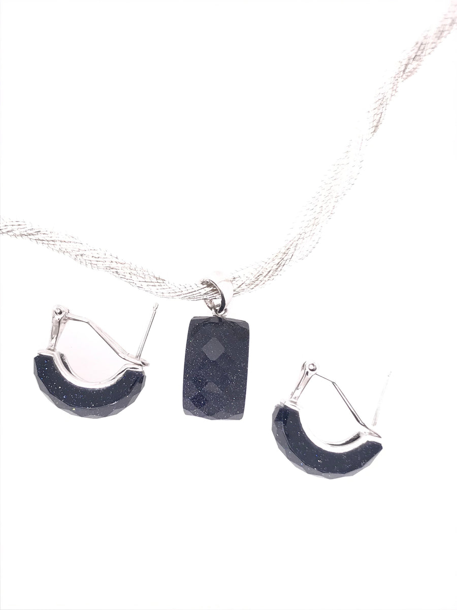 Midnight Starry Blues; Blue Goldstone Necklace and Earrings Set