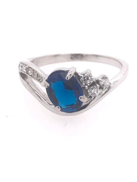 Simple Oval Shape Blue Ring