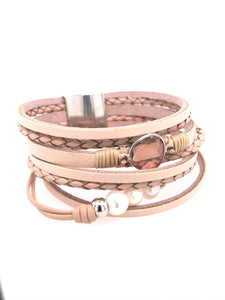 Multi-Layer Leather Magnetic Charm Bangle Bracelet